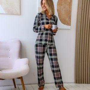 Заказать черную пижаму женскую в клетку на байке (размер 42-50) онлайн