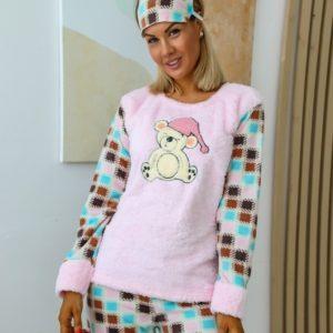 Купить женскую теплую розовую пижаму из плюша с повязкой (размер 42-50) онлайн
