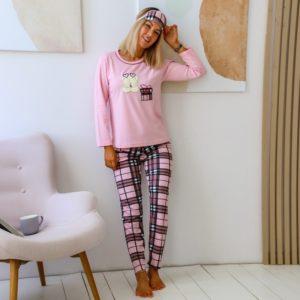 Заказать женскую розовую пижаму с узкими штанами и повязкой (размер 44-50) недорого