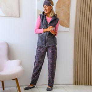 Купить женский комплект для сна: штаны+джемпер+жилетка+тапочки+повязка (размер 42-48) серого цвета по низким ценам