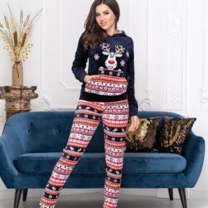 Заказать синюю теплую пижаму с оленем из велюра (размер 42-48) онлайн для женщин