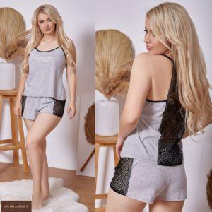 Приобрести серую пижаму для женщин Victoria's Secret с кружевом (размер 42-62) недорого