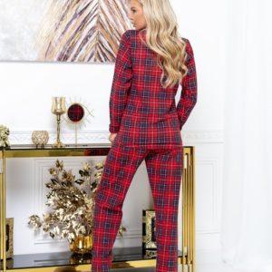 Приобрести женскую пижаму в клетку из интерлока (размер 42-52) красного цвета выгодно