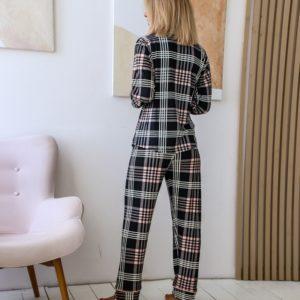 Приобрести пижаму в клетку на байке (размер 42-50) для женщин черную выгодно