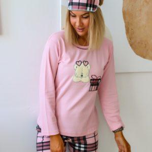 Приобрести женскую пижаму с узкими штанами и повязкой (размер 44-50) розового цвета по низким ценам