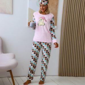 Заказать розовую теплую пижаму из плюша с повязкой (размер 42-50) по низким ценам дешево