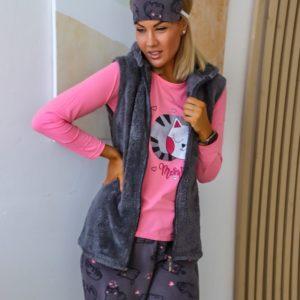 Заказать комплект женский розовый/серый для сна: штаны+джемпер+жилетка+тапочки+повязка (размер 42-48) онлайн