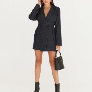Заказать синее женское платье-пиджак длины мини онлайн