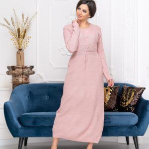 Заказать цвета пудра длинное женское вязаное платье с круглым вырезом по скидке