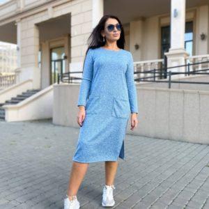 Заказать голубое женское платье миди с карманами из ангоры (размер 42-56) по скидке