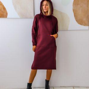 Приобрести женское теплое платье-худи с начесом (размер 42-56) цвета марсала выгодно