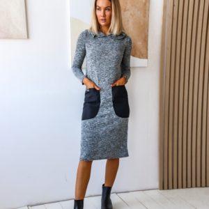 Приобрести серое платье для женщин с карманами из турецкого трикотажа (размер 42-48) недорого