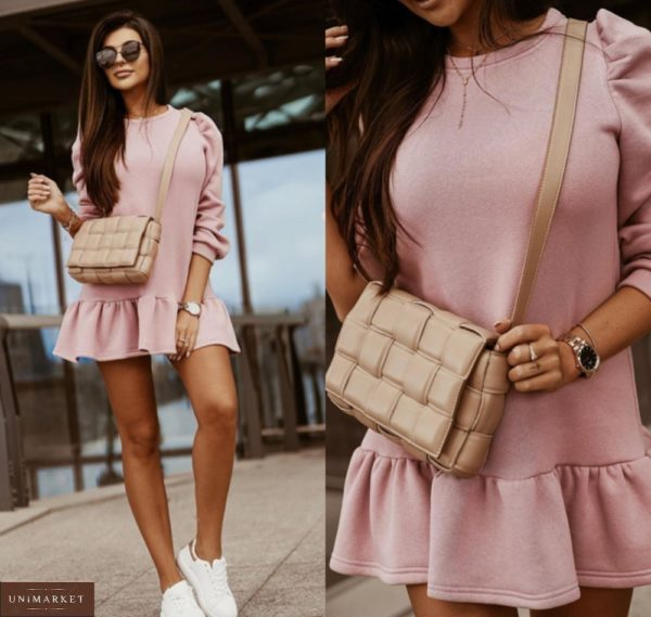 Купить пудра мини платье из трехнитки недорого для женщин