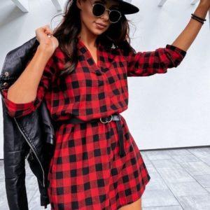 Купить красное платье для женщин мини из хлопка в клетку онлайн