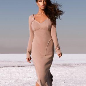 Купить женское мокко платье миди с длинным рукавом из ангоры выгодно