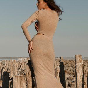 Придбати жіноче силуетне плаття міді з ангори бежевого кольору онлайн