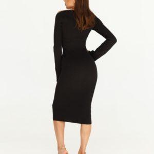 Приобрести черного цвета силуэтное платье с длинным рукавом из трикотажа для женщин в интернете