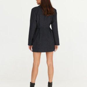 Купить женское платье-пиджак длины мини синее недорого