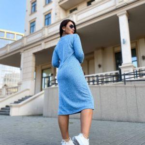 Купить женское платье миди с карманами из ангоры (размер 42-56) голубого цвета недорого