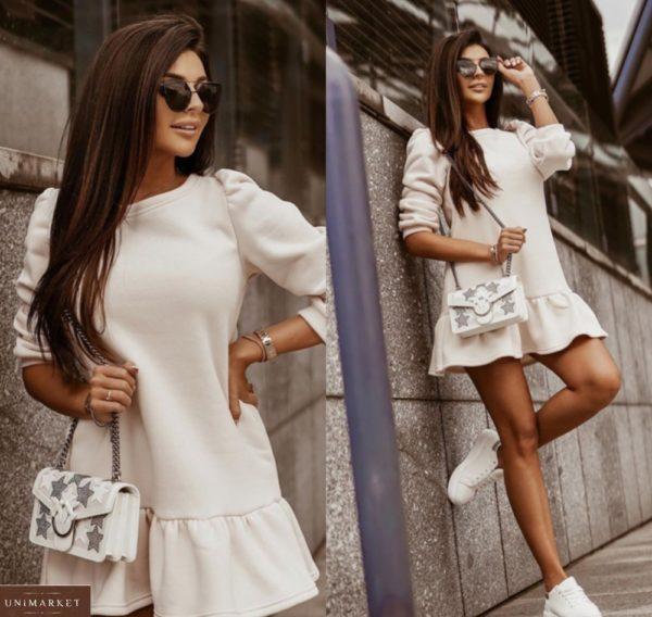 Заказать молочное мини платье из трехнитки дешево для женщин