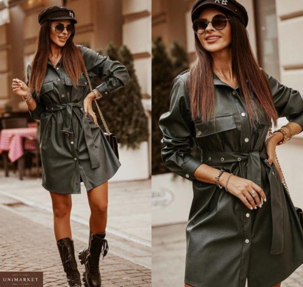 Заказать черное платье-рубашка для женщин из эко кожи с длинным рукавом онлайн