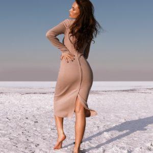 Заказать женское платье миди с длинным рукавом из ангоры цвета мокко дешево