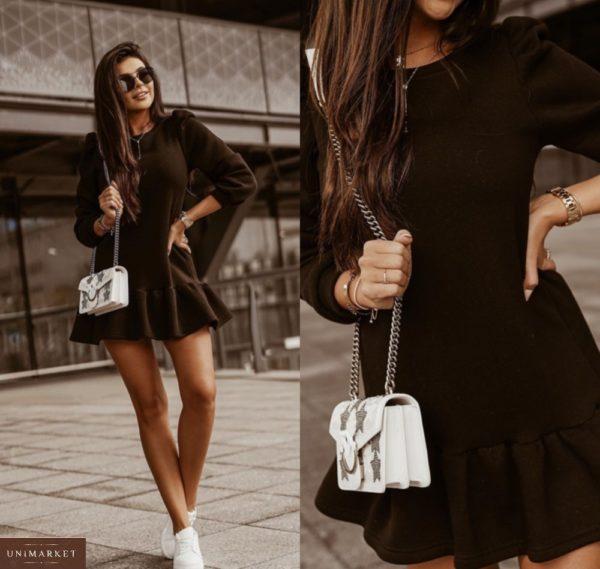 Купить женское мини платье из трехнитки черного цвета по скидке