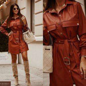 Заказать цвета терракот женское платье-рубашка из эко кожи с длинным рукавом в Украине
