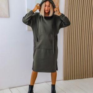 Приобрести хаки женское теплое платье-худи с начесом (размер 42-56) по скидке