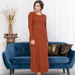 Заказать терракотовое длинное вязаное платье для женщин с круглым вырезом онлайн