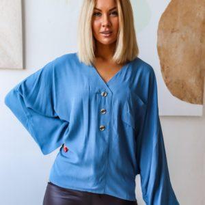 Заказать голубую рубашку для женщин oversize летучая мышь (размер 42-60) дешево