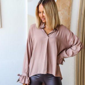 Заказать пудра рубашку для женщин летучая мышь из струящегося хлопка (размер 42-56) выгодно