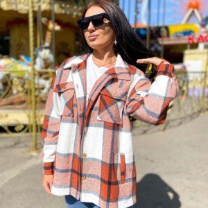 Заказать оранжевую теплую женскую рубашку в клетку из хлопка с шерстью (размер 42-56) по скидке