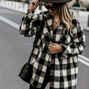 Заказать черно-белую плотную рубашку из шерсти в клетку (размер 42-56) для женщин выгодно