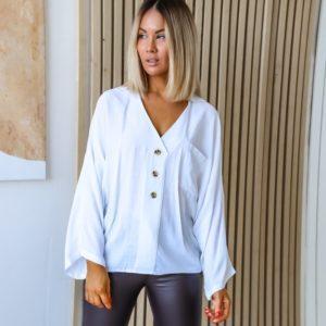 Приобрести белую рубашку oversize летучая мышь (размер 42-60) женскую в Украине