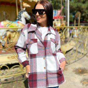 Купить бордо женскую теплую рубашку в клетку из хлопка с шерстью (размер 42-56) выгодно