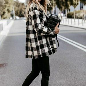 Приобрести женскую плотную рубашку из шерсти в клетку (размер 42-56) черно-белого цвета по низким ценам