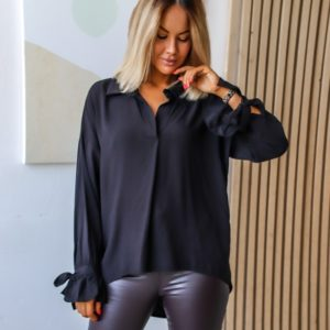 Купить черную рубашку летучая мышь из струящегося хлопка (размер 42-56) по скидке женскую