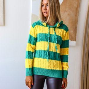Заказать желтый/зеленый двухцветный женский полосатый свитер с капюшоном (размер 42-48) дешево