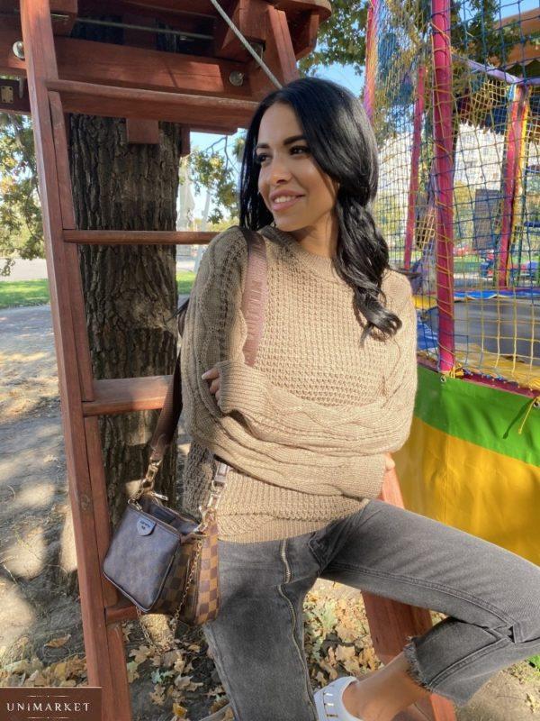 Заказать беж вязаный женский свитер из пряжи шерсти и акрила (размер 42-48) онлайн