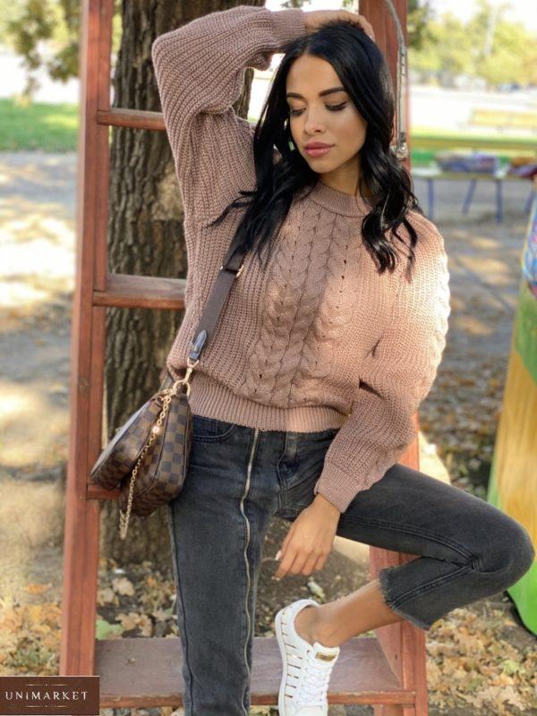 Купить женский вязаный свитер oversize с шерстью (размер 42-48) цвета мокко в Украине
