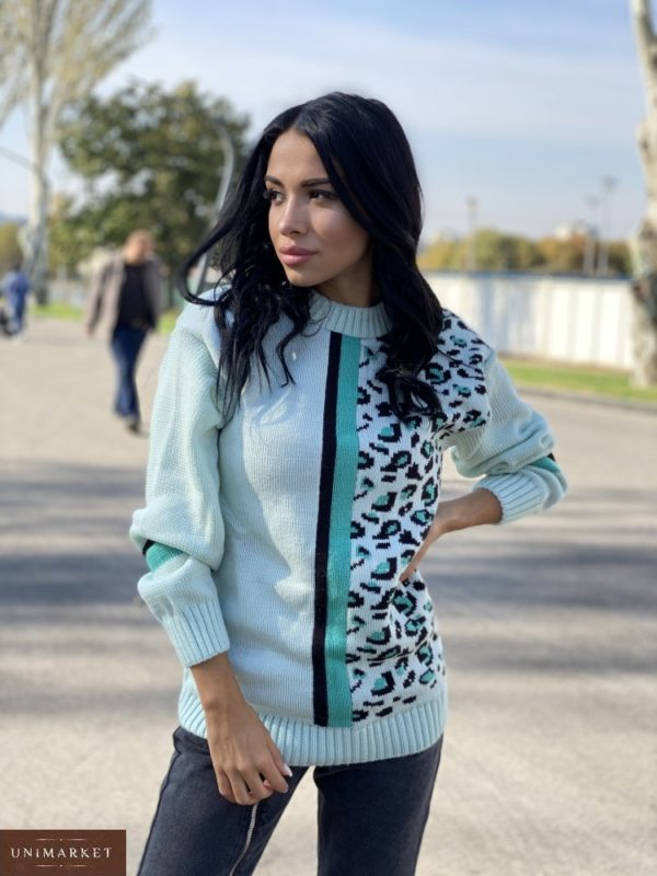 Заказать мятный женский свитер с леопардовым принтом (размер 42-48) онлайн