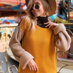 Заказать горчица разноцветный женский свитер из шерсти с акрилом по скидке