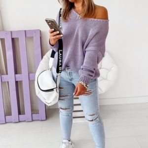 Приобрести женский свитер оверсайз со спущенной линией плеча дешево сирень