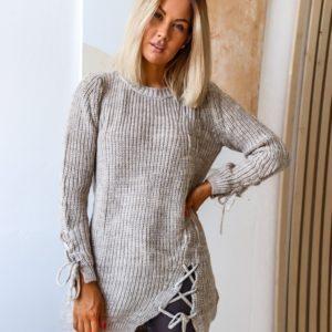 Заказать бежевый женский удлиненный вязанный свитер с завязкой (размер 42-54) онлайн