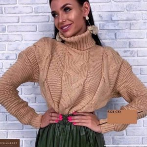 Заказать мокко женский свитер под горло со спущенной линией плеча на зиму дешево