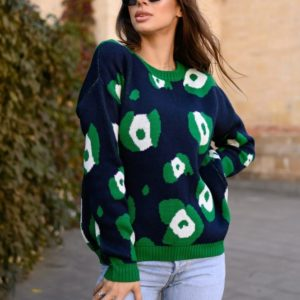Купить синий с зеленым свитер с узорами со спущенной линией плеча недорого для женщин