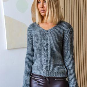 Заказать серый свитер для женщин со шнуровкой на спине онлайн
