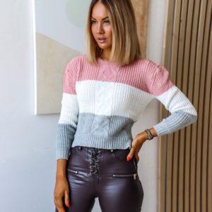 Заказать розовый/серый/белый короткий вязаный трехцветный свитер онлайн для женщин