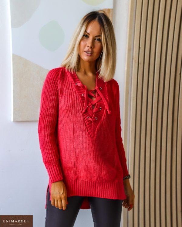 Заказать красный женский на осень удлиненный свитер с V-образным вырезом на шнуровке (размер 44-54) дешево